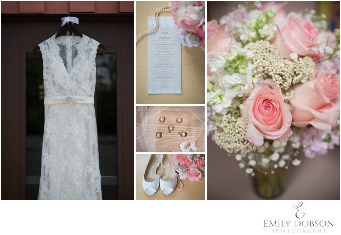 Pink and white Bridal details