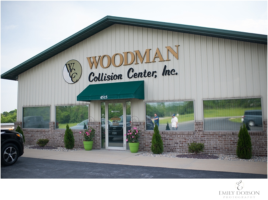 The front of the Woodman Collision Center building in Alton IL